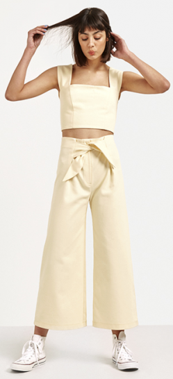 Yellow Tie Front Wide Leg Culotte