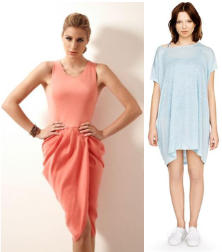 Dresses in sorbet-soft colours from Outsider fashion: blue lightweight linen tunic and peach bamboo and silk draped dress