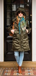 Kate Harcourt in Acne Studios Powder Parka Ethical fashion outerwear