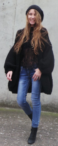 over sized chunky black cardigan sweater women's chunky knit puff sleeves long sweater